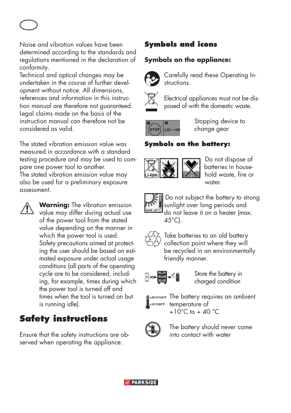Safety Instructions Parkside Pabsw 108 B3 User Manual Page 36