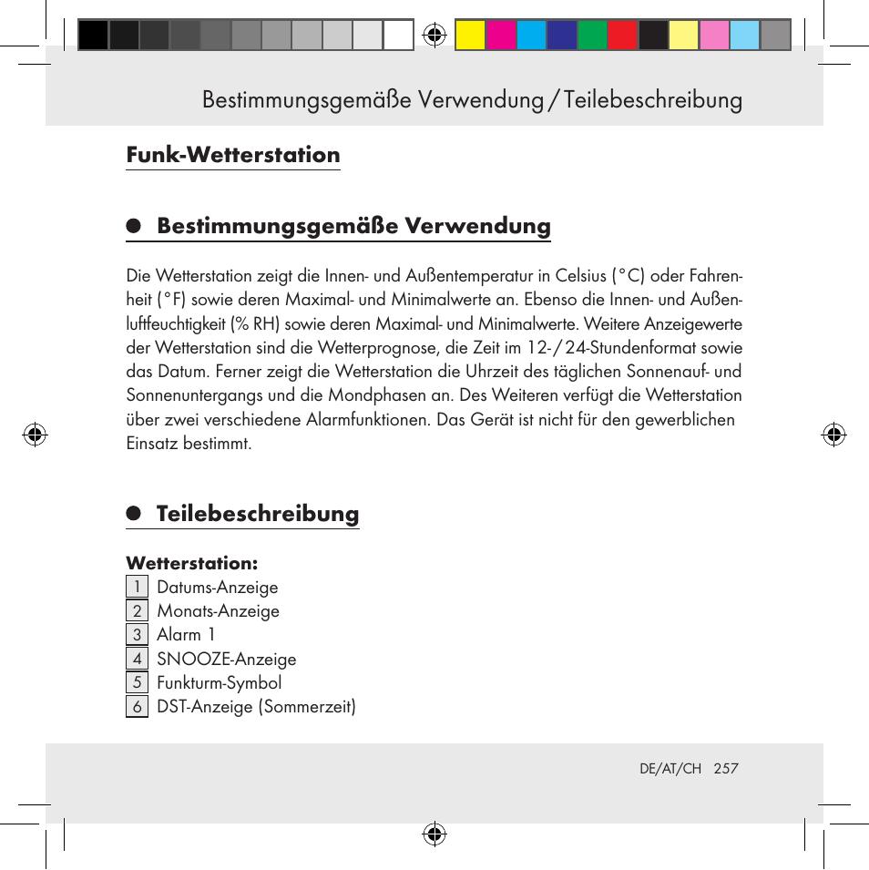 Funk Wetterstation Bestimmungsgemäße Verwendung Teilebeschreibung