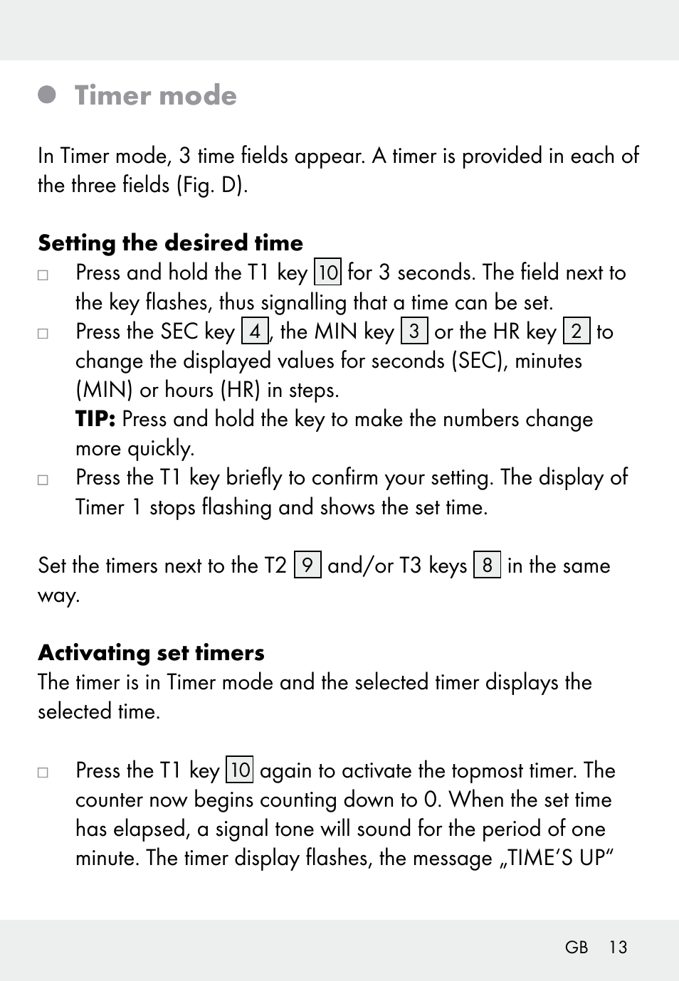 Timer mode | Auriol Z31793 User Manual | Page 13 / 74