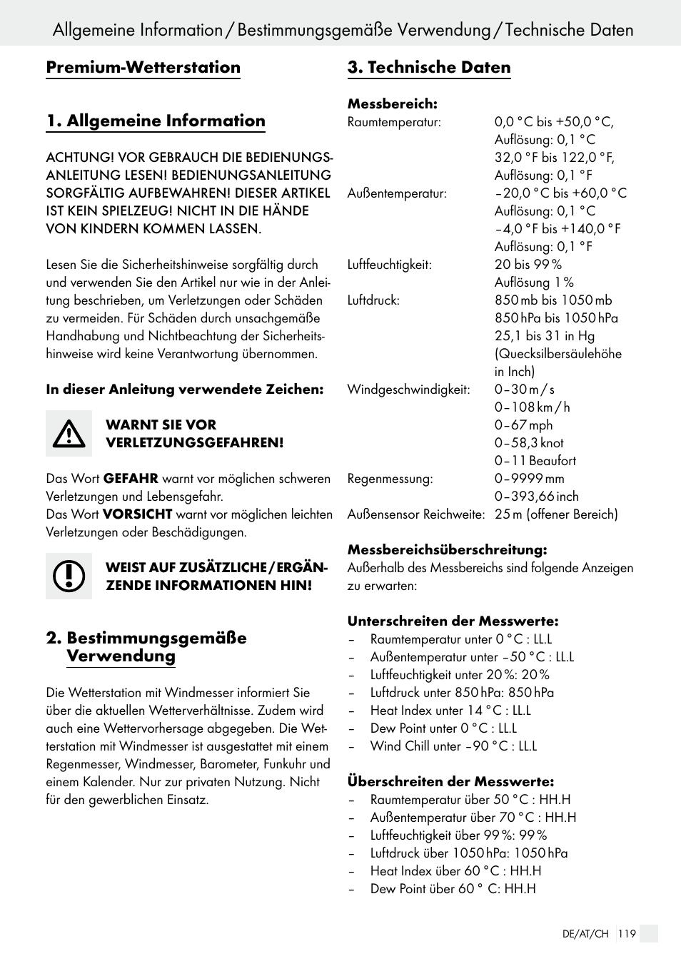 Premium Wetterstation 1 Allgemeine Information Bestimmungsgemäße