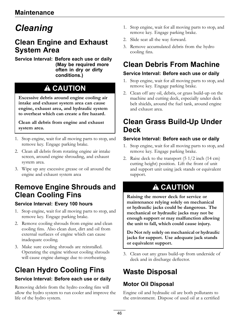 Cleaning, Clean engine and exhaust system, Area | Exmark