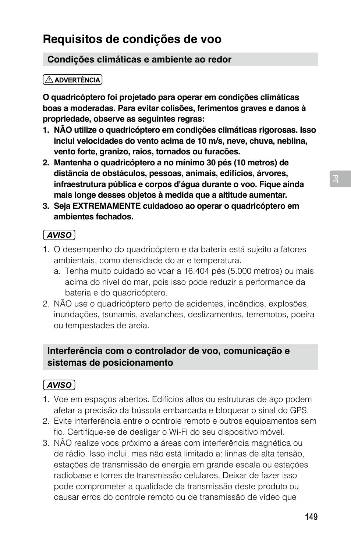Requisitos de condições de voo | DJI Mavic Pro User Manual