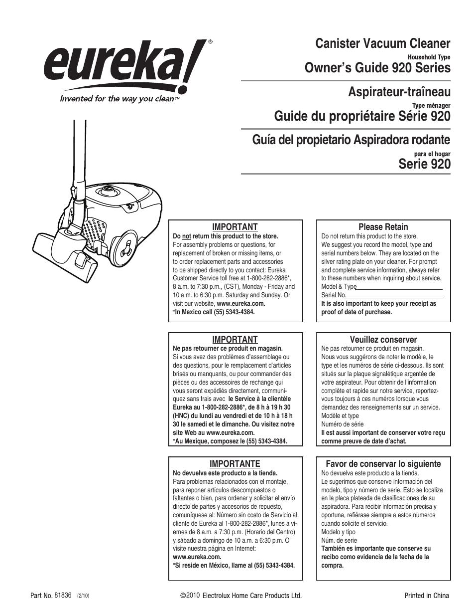 eureka 920 user manual 16 pages original mode rh manualsdir com eureka atom user manual eureka mignon user manual