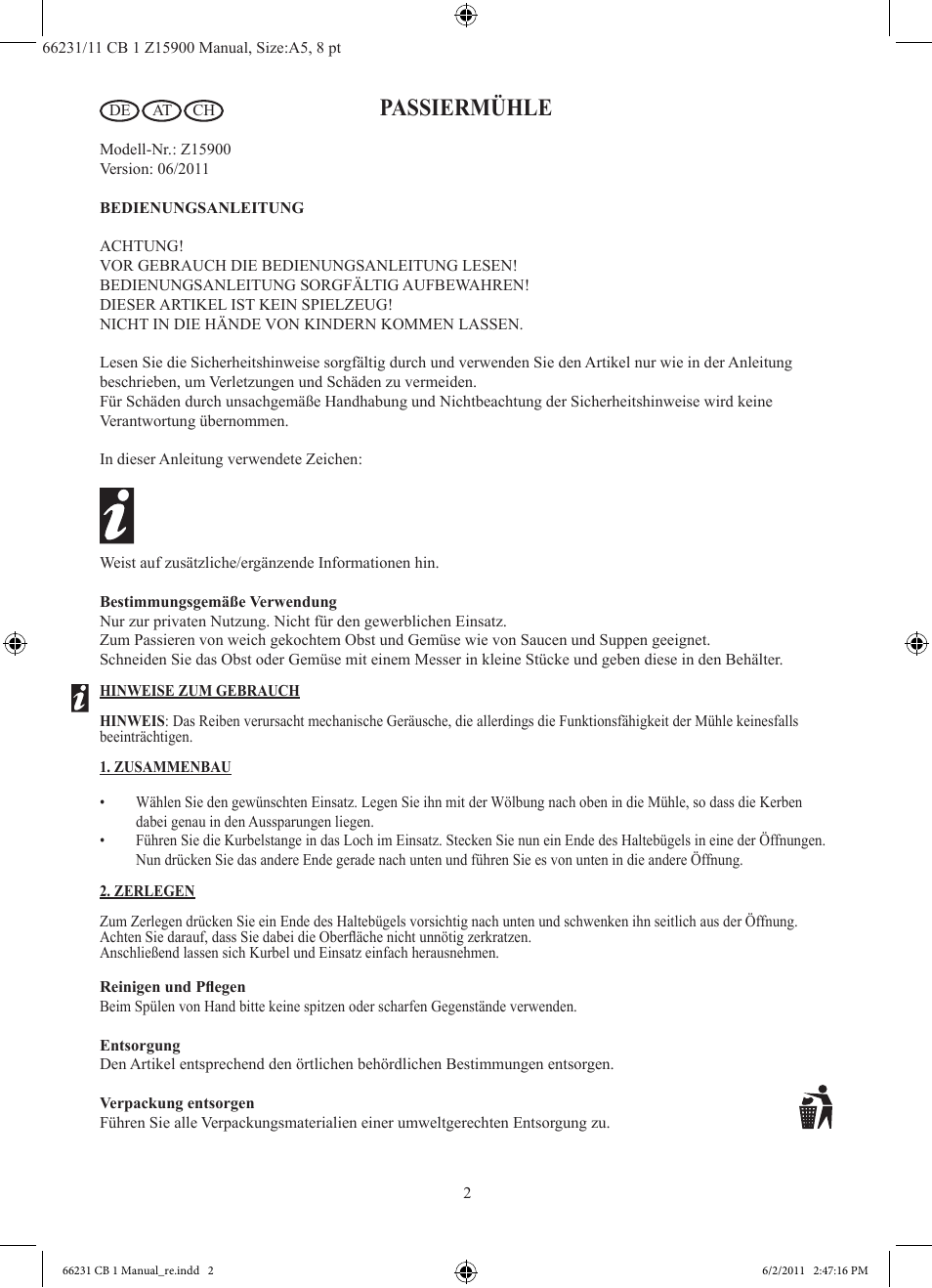 Passiermuhle Ernesto Z15900 User Manual Page 3 7 Original Mode
