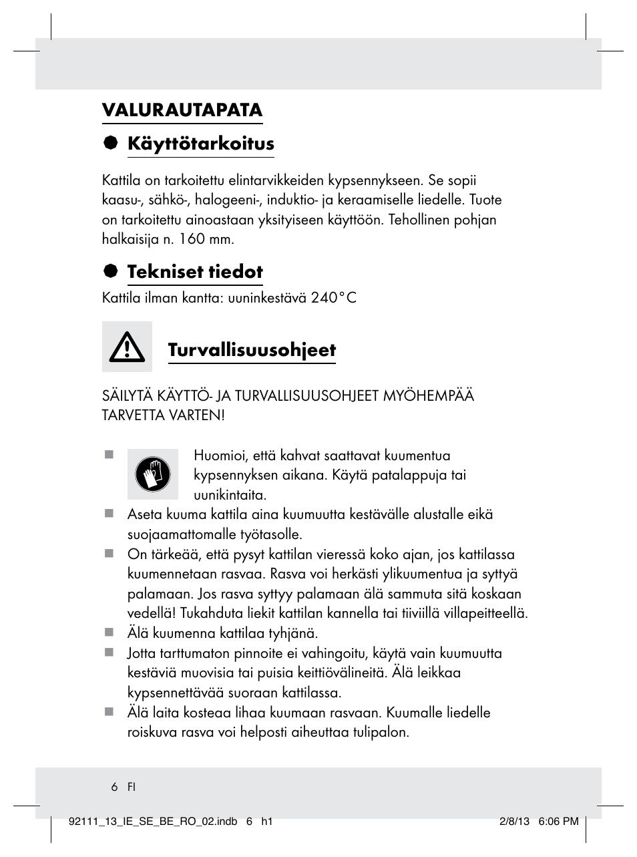 Valurautapata § käyttötarkoitus, Tekniset tiedot, Turvallisuusohjeet | Ernesto Z31681 User ...