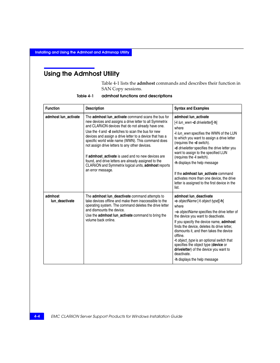 Using the admhost utility, Using the admhost utility -4   EMC CLARiiON User  Manual   Page 46 / 102