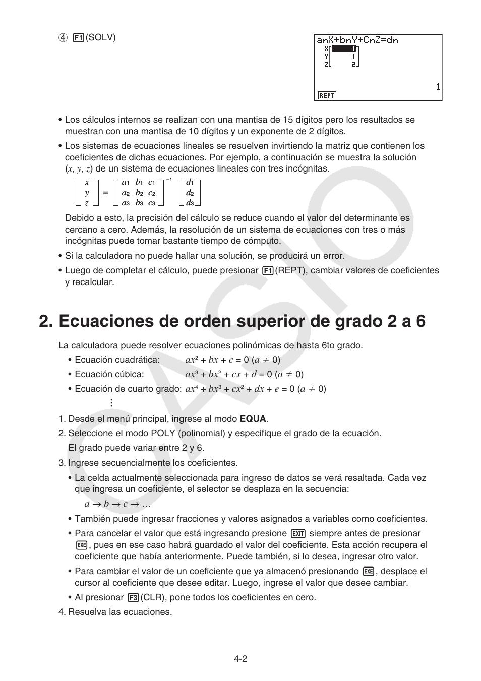 Ecuaciones de orden superior de grado 2 a 6, Ecuaciones de orden ...
