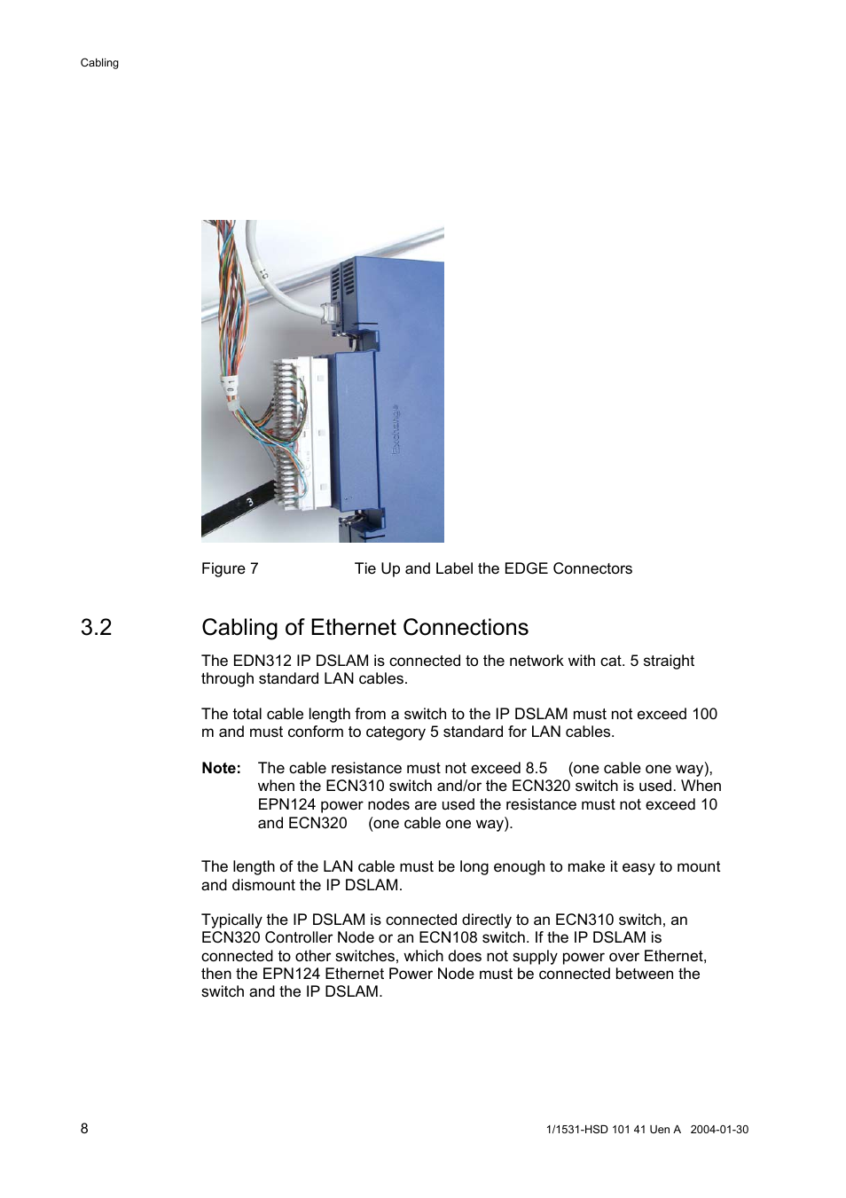 2 Cabling Of Ethernet Connections Ericsson Edn312 User Manual Network Cable Way Switch Page 12 20
