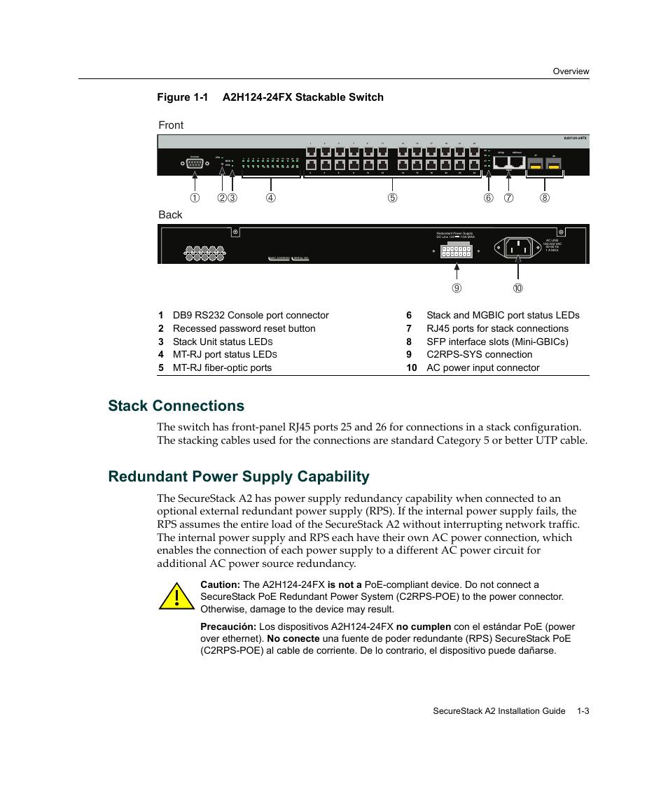 stack connections redundant power supply capability a2h124 24fx rh manualsdir com