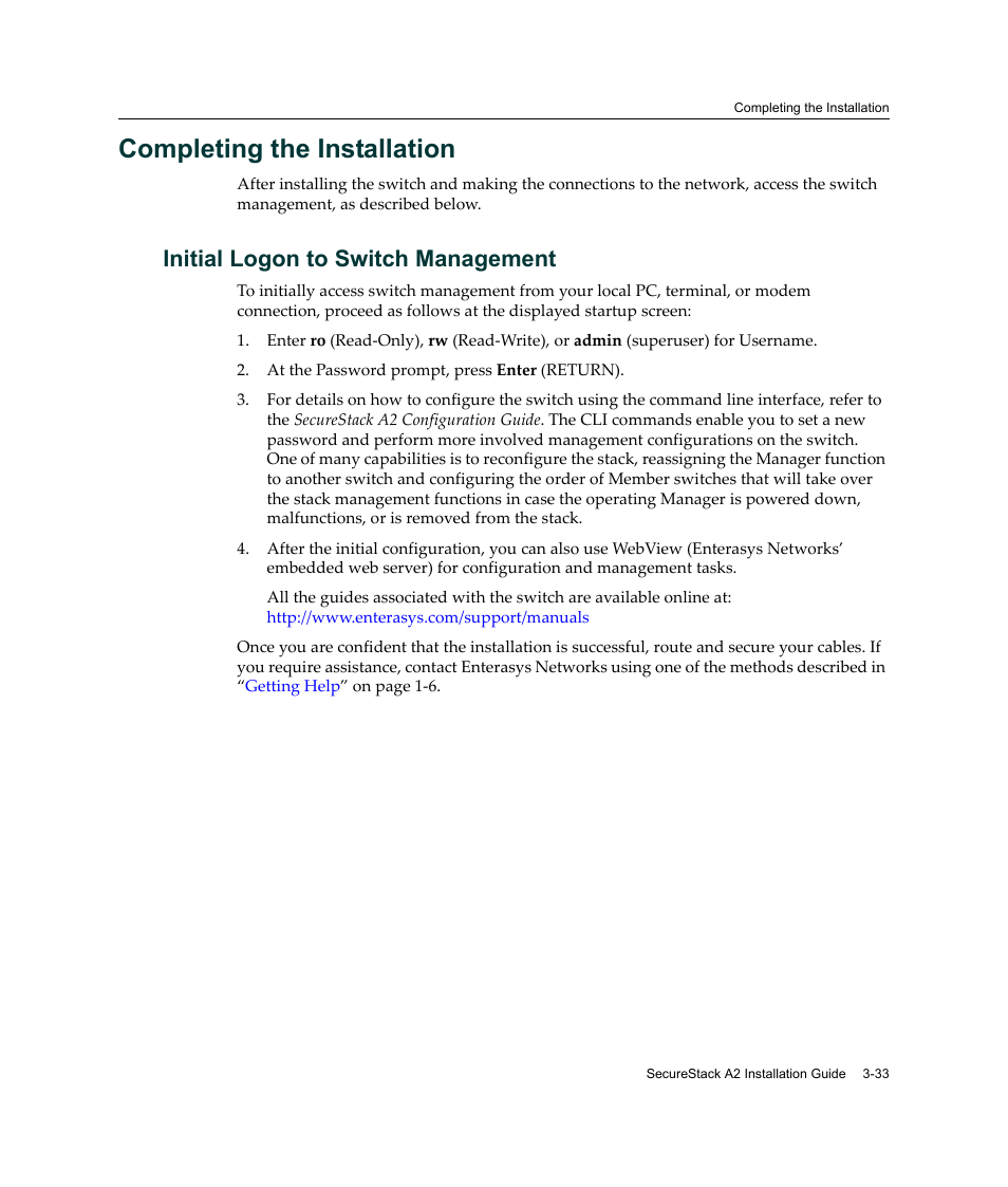 completing the installation initial logon to switch management rh manualsdir com Example User Guide Online User Guide