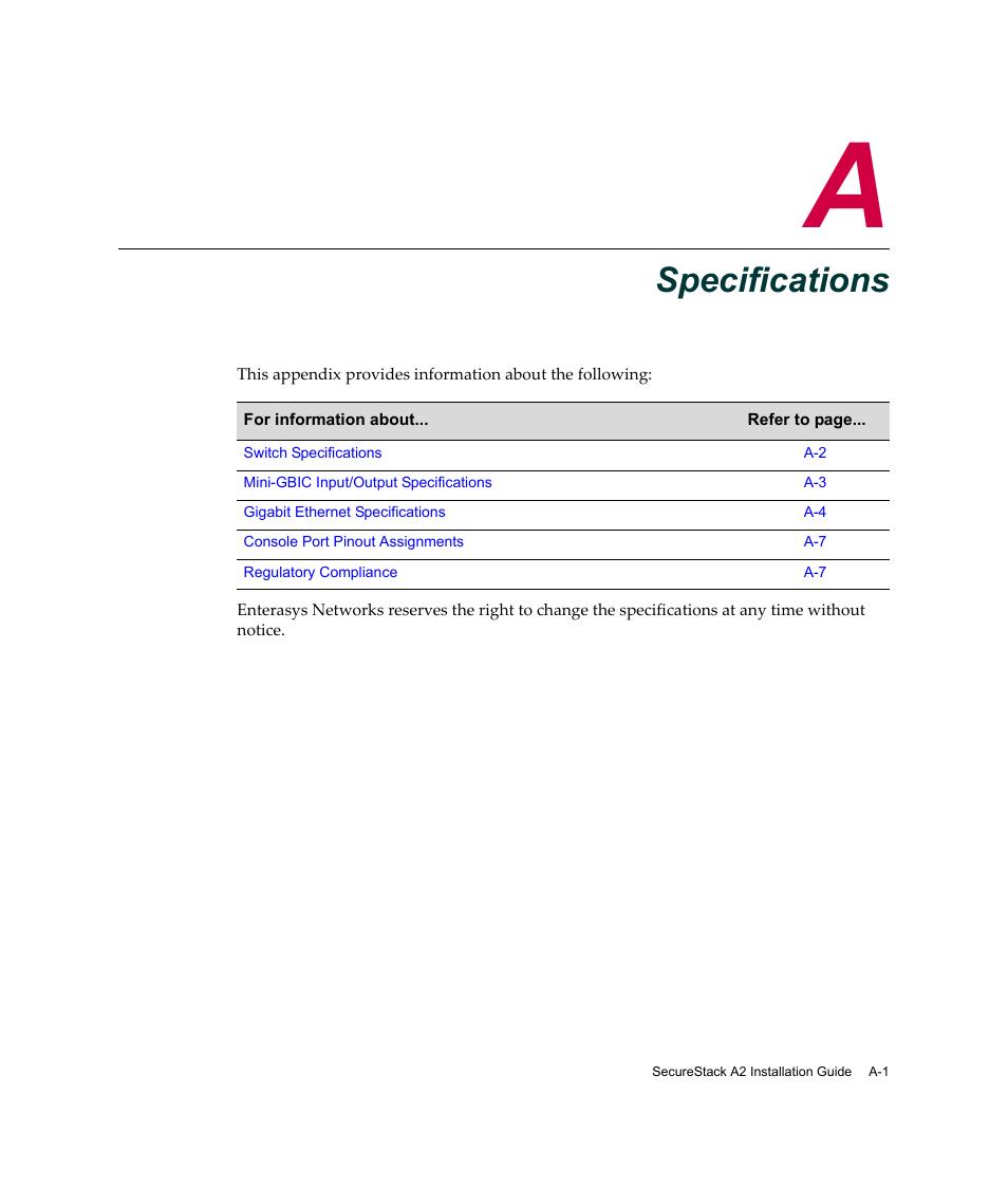 specifications appendix a specifications appendix a enterasys rh manualsdir com