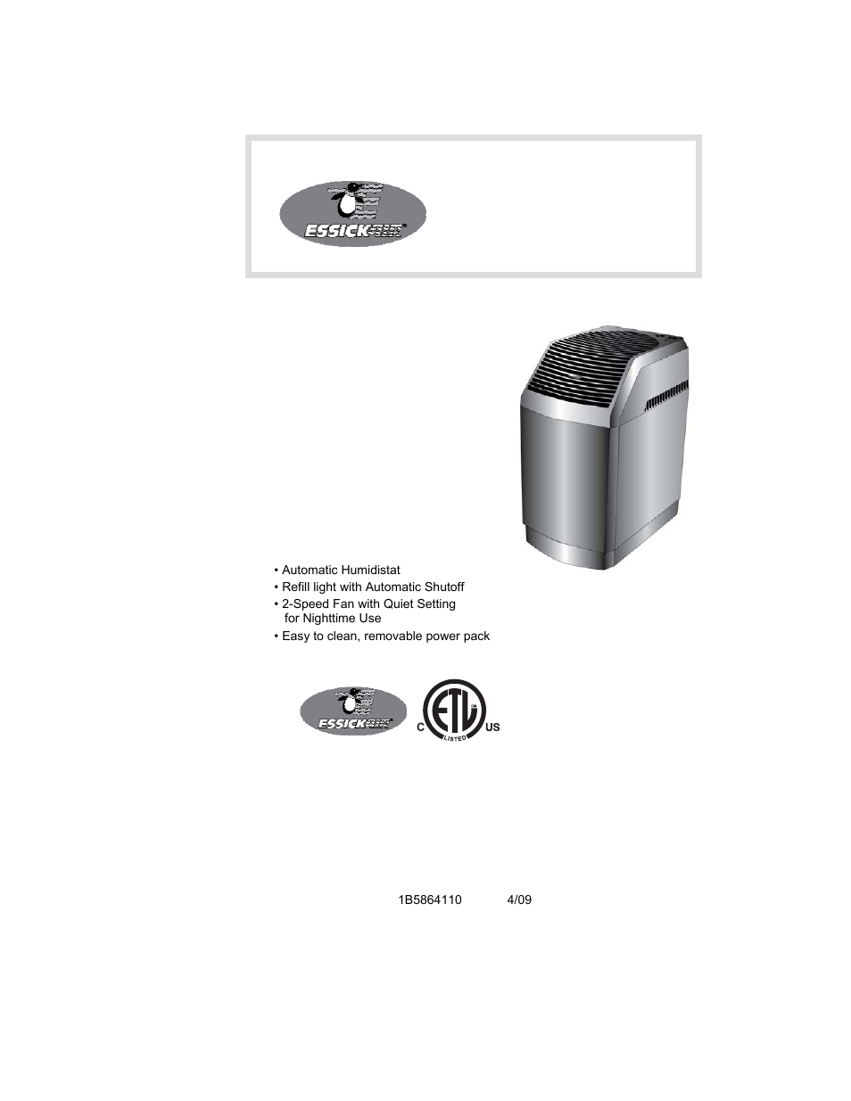 Essick Air 821 000 User Manual 19 Pages
