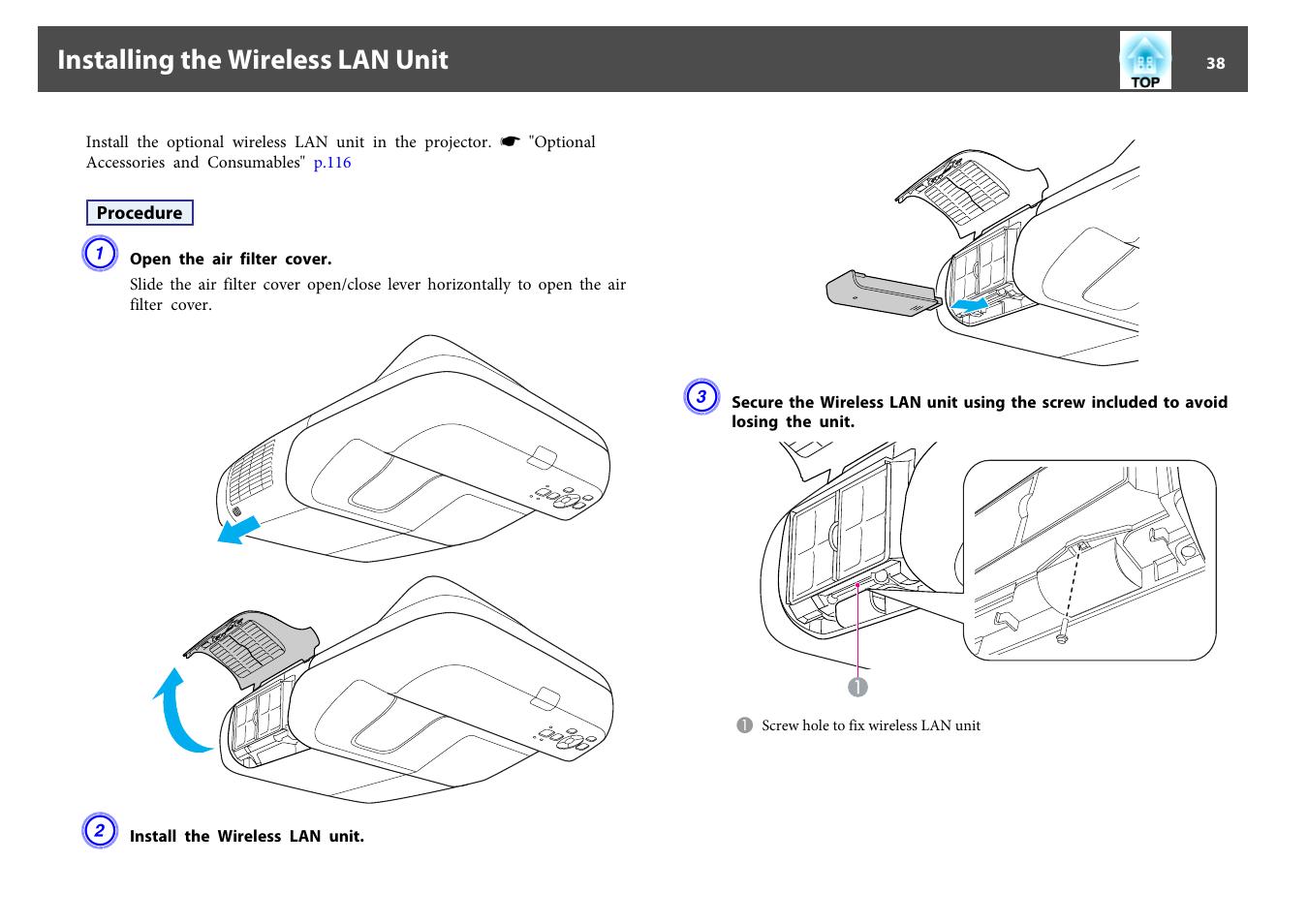 Installing The Wireless Lan Unit P38 Epson Eb 440w User Manual Diagram Page 38 153