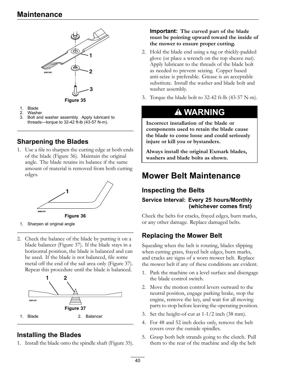 Mower belt maintenance, Figure 35, Warning   Exmark Quest 4500-450