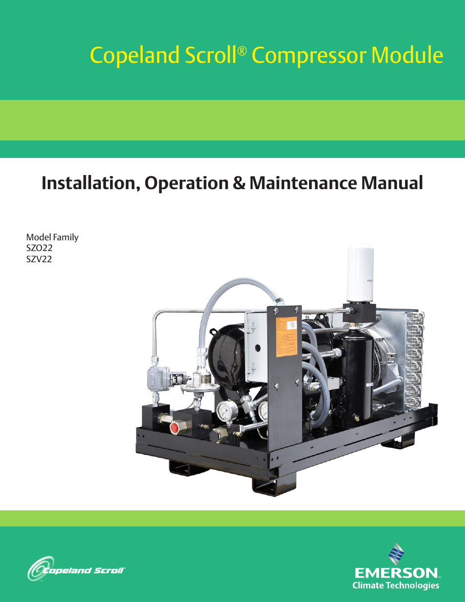 Emerson COPELAND SCROLL SZO22 User Manual | 34 pages | Also for: COPELAND  SCROLL SZV22