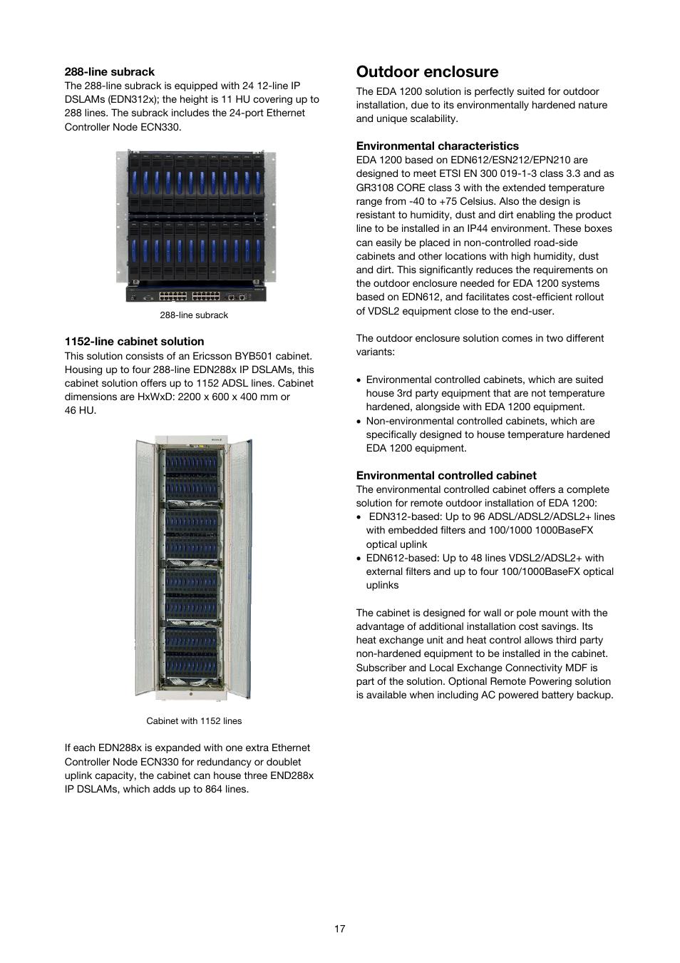Outdoor enclosure | Ericsson SOLUTION DESCRIPTION EDA 1200 4.0 User Manual  | Page 17 / 22