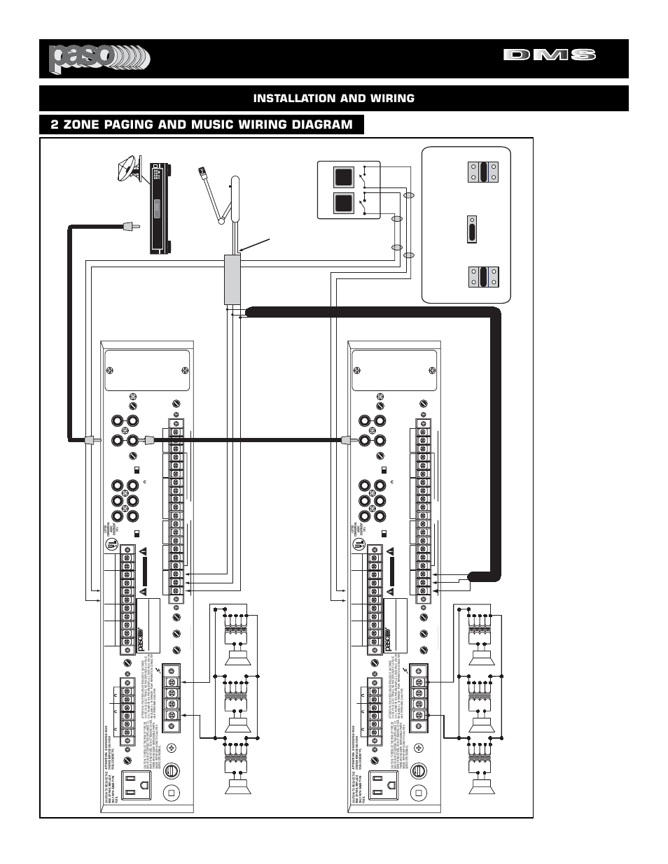 Digital Music Amplifiers 2 Zone Paging And Wiring Diagram Pa Speaker System Installation