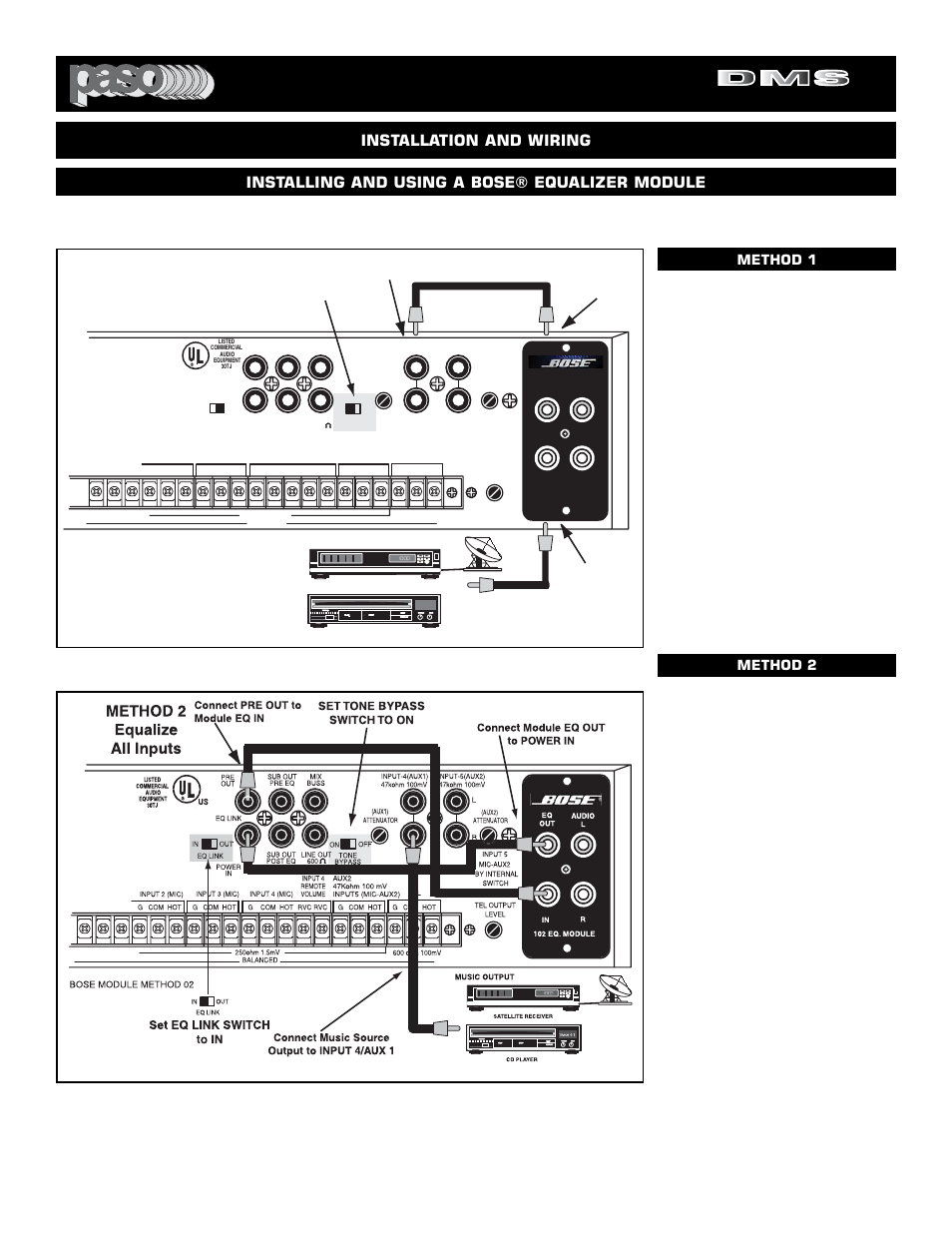 Digital Music Amplifiers Method 1 Equalize Only Page 29 El Eq To Reciever Wiring Diagram Paso Chile Company Dms 3080 80 User Manual 32