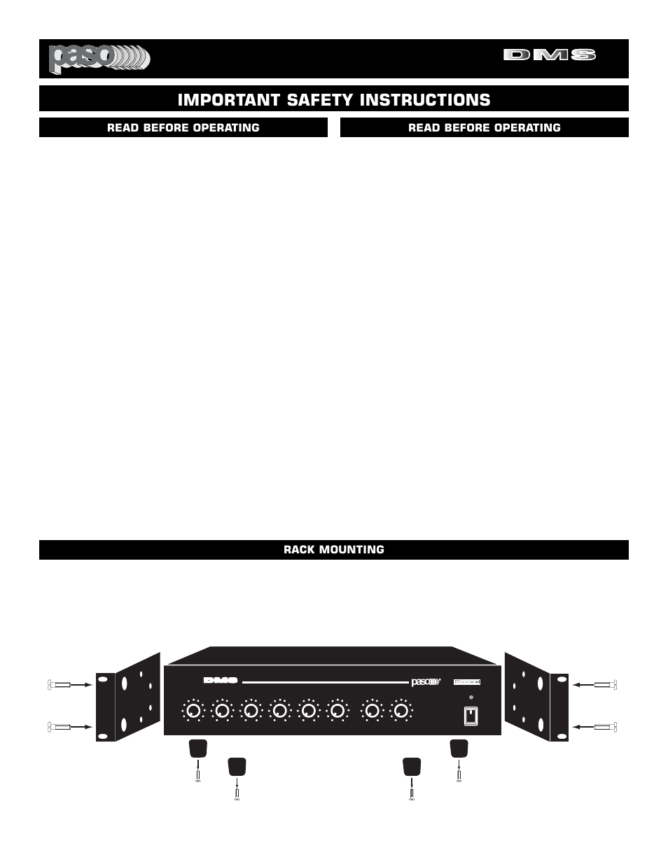Digital music amplifiers, Important safety instructions, Rack