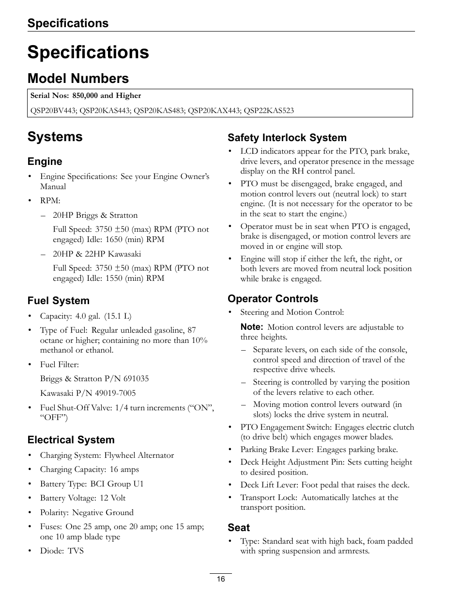 Specifications, Model numbers systems, Model numbers