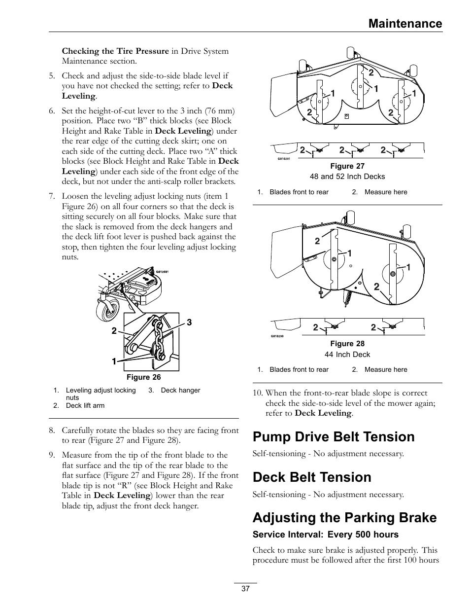 Pump Drive Belt Tension  Deck Belt Tension  Adjusting The Parking Brake