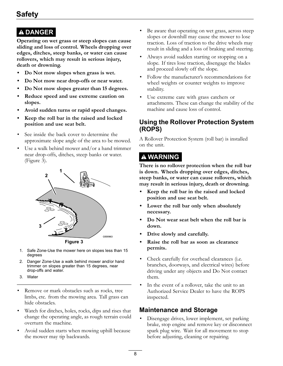 Safety | Exmark lazer Z E-Series 312 User Manual | Page 8 / 60