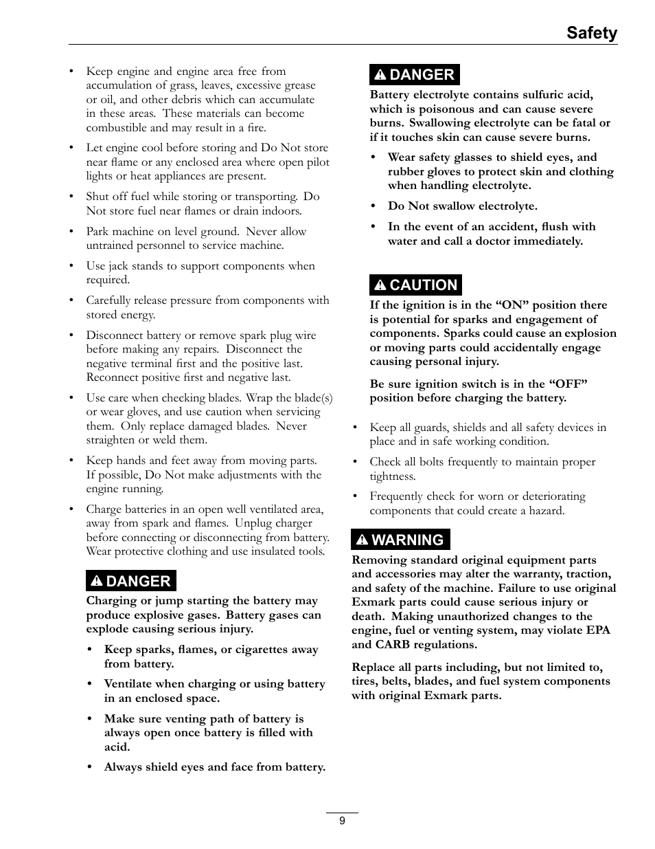 Safety | Exmark lazer Z E-Series 312 User Manual | Page 9 / 60