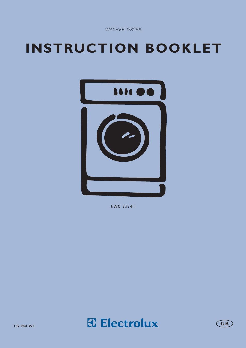 electrolux aqualux ewd 1214 i user manual 30 pages rh manualsdir com Instruction Manual electrolux washer dryer combo eww1273 user manual