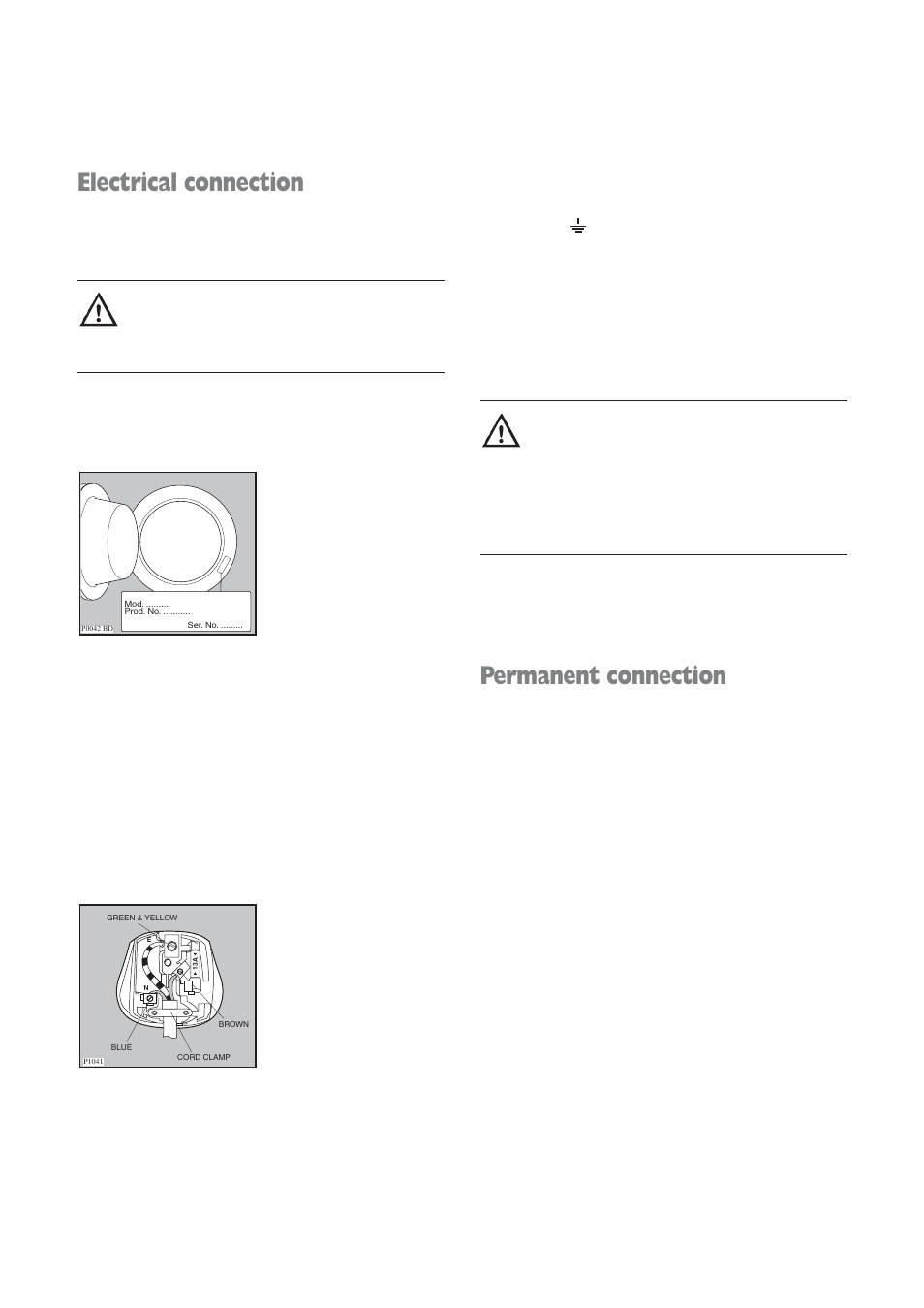 electrical connection permanent connection electrolux aqualux ewd rh manualsdir com User Manual PDF Instruction Manual Example