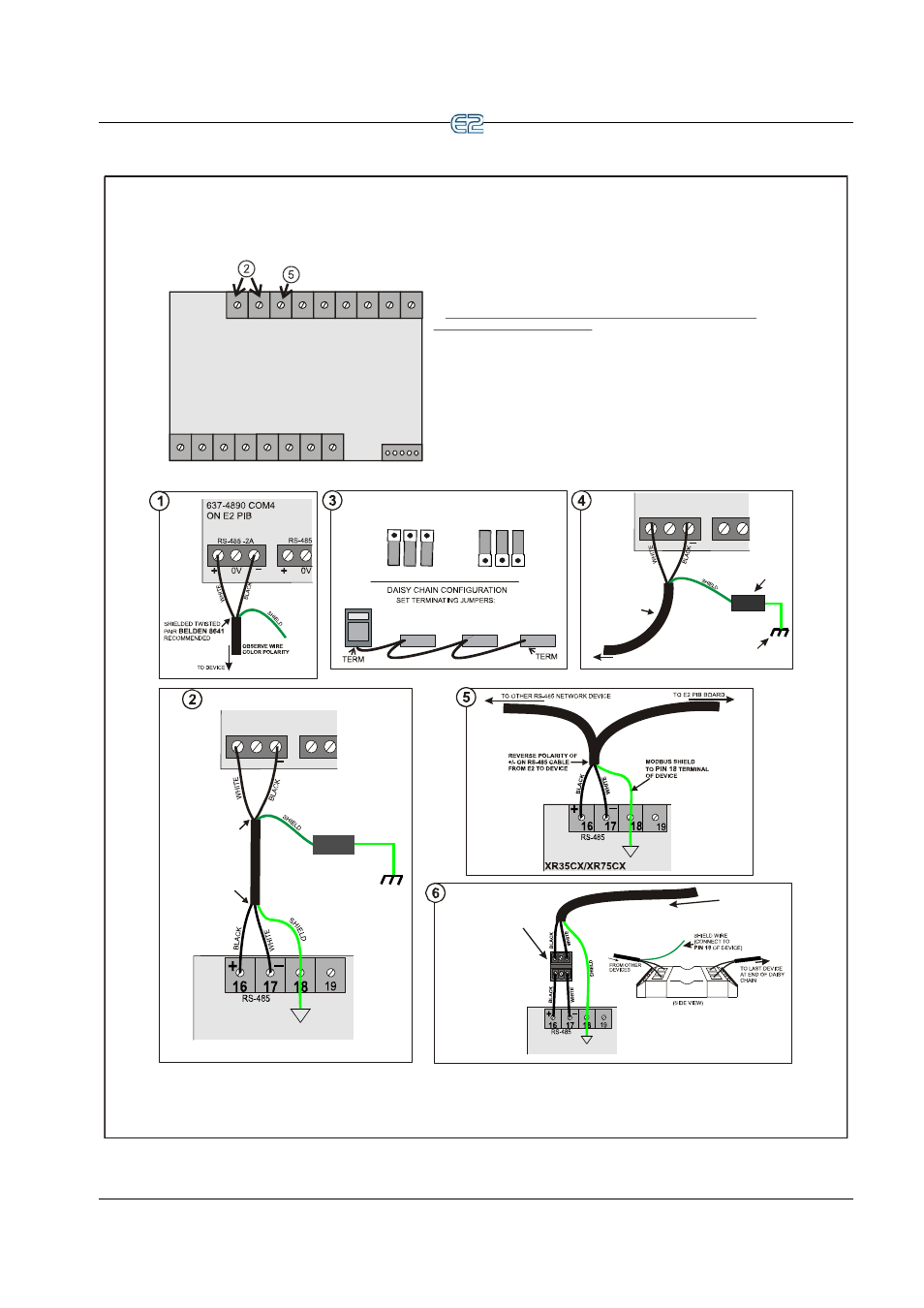 Rs 485 I O Or Modbus Net Xr35cx Xr75cx Device Ect The Belden Wiring Diagram Rs485 Network And Hardware Setup Emerson E2 User Manual Page 81 273