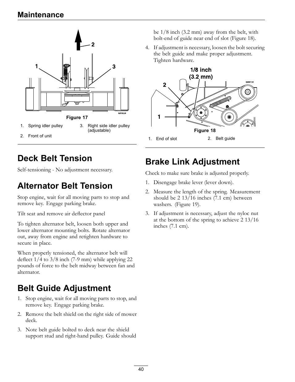 Deck belt tension, Figure 17, Alternator belt tension