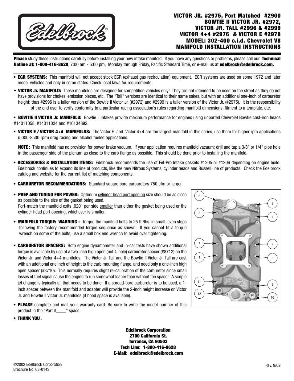 Edelbrock CHEVROLET V8 302-400 C I D  User Manual | 1 page
