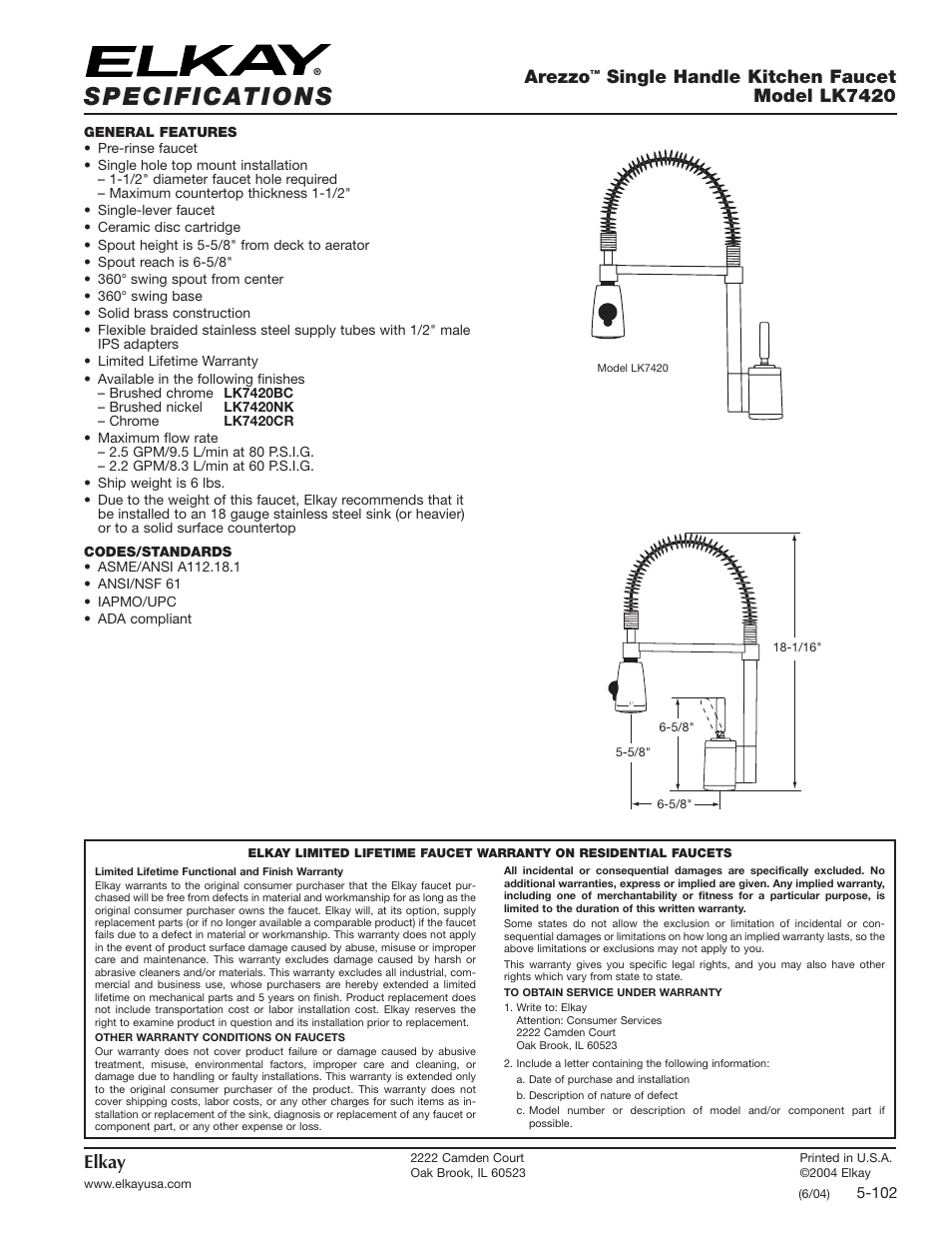 Elkay Lk7420bc User Manual 1 Page Also For Lk7420cr