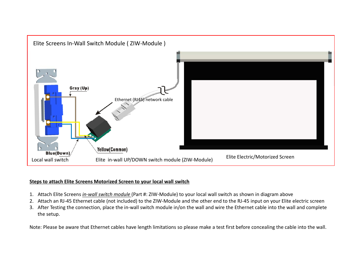 elite screens et user manual 1 page also for ziw module elite screens et user manual