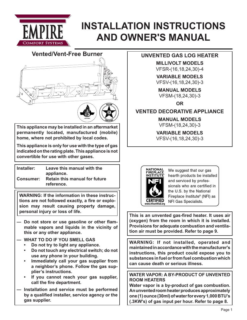 empire comfort systems vfsr 24 3 user manual 28 pages also for