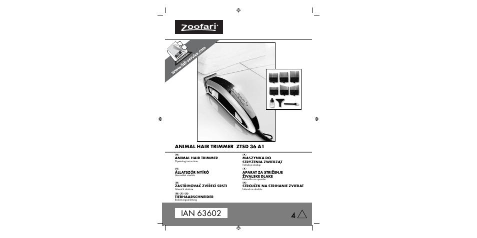 Zoofari Animal Hair Trimmer ZTSD 36 A1 User Manual  6f7dfe0d5a6