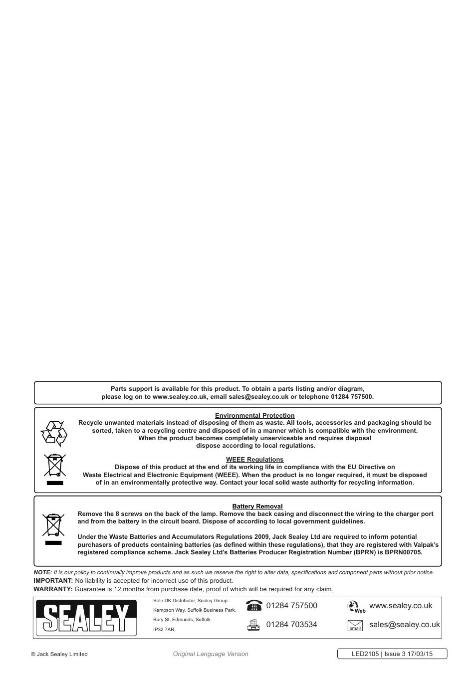 Sealey Led2105 User Manual Page 3 Original Mode Recycledcircuitboardlamp