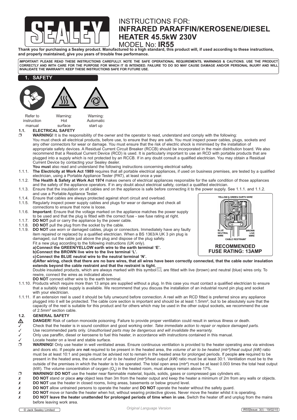 Sealey IR55 User Manual | 8 pages