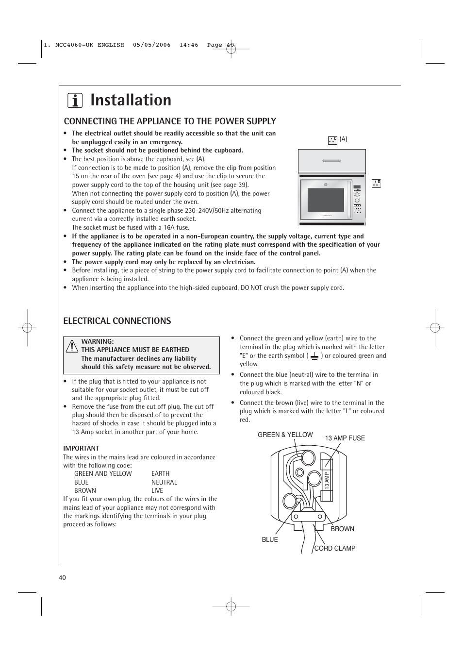 Installation Connecting The Appliance To Power Supply Wire Schematic Pg Amp E Symbols Electrical Connections Electrolux Mcc4060e User
