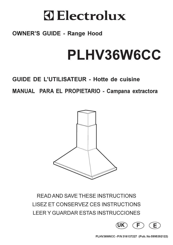 Electrolux Plhv36w6cc User Manual 32 Pages