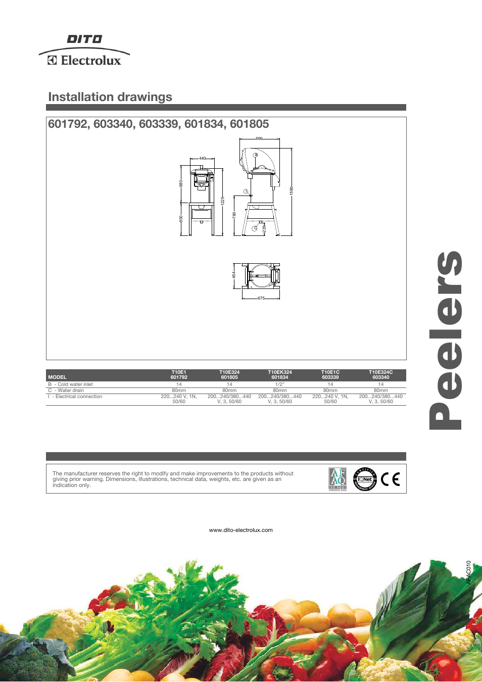 Peelers, Installation drawings | Electrolux Dito 603340 User Manual | Page  4 / 4