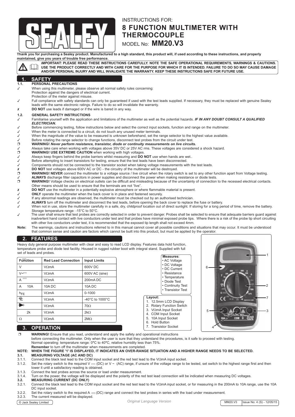 Sealey Mm20 User Manual 2 Pages