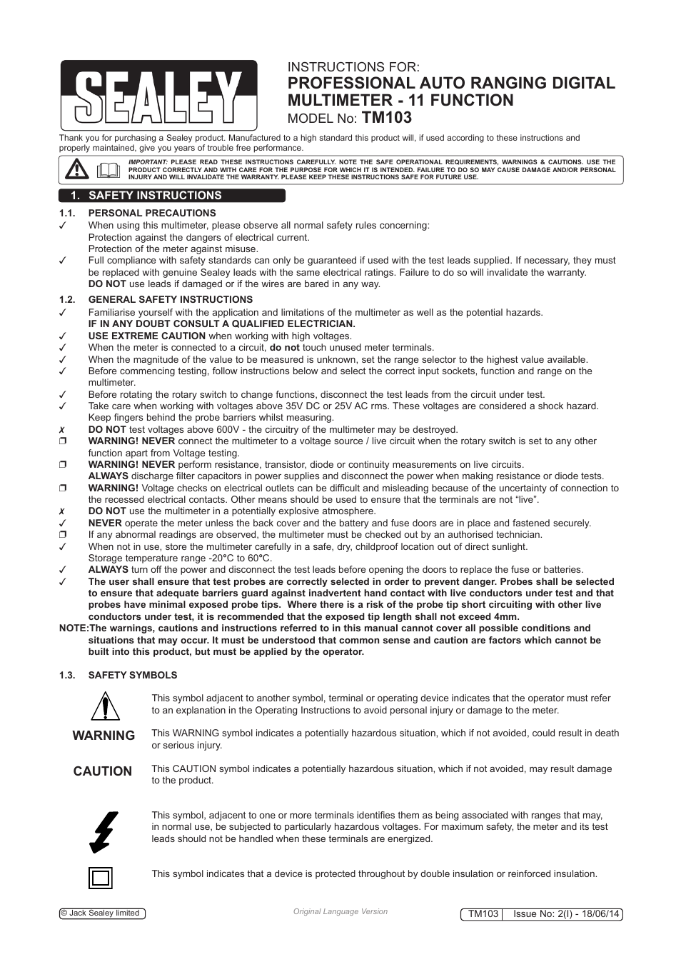Sealey Tm103 User Manual 8 Pages Also For Tm100