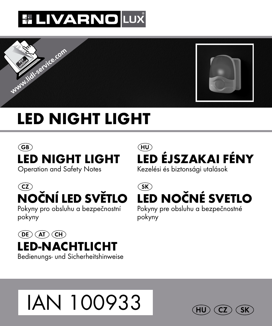Livarno led night light - Livarno 100933 14 03 Bs User Manual 60 Pages Also For 100933 14 04 Bs