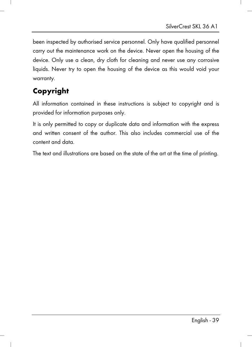 Copyright | Silvercrest SKL 36 A1 User Manual | Page 41 / 64
