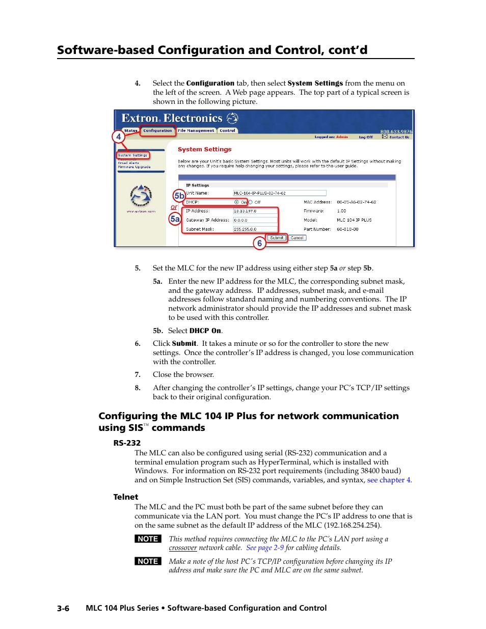 Rs-232, Telnet, Commands -6 | Extron Electronics MLC 104