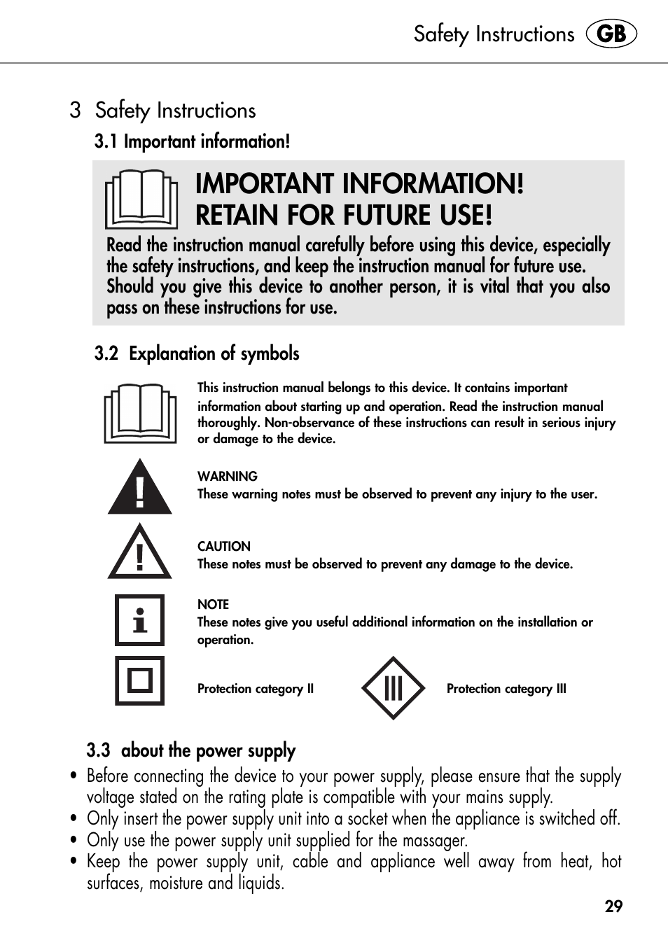 Important Information Retain For Future Use Safety Instructions 3