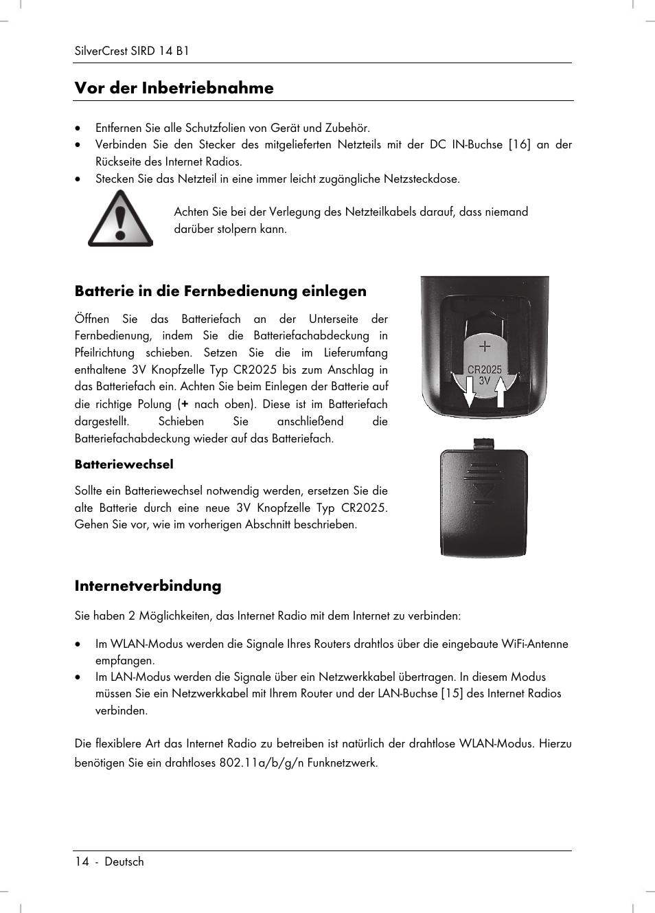 Vor der inbetriebnahme | Silvercrest SIRD 14 B1 User Manual | Page ...