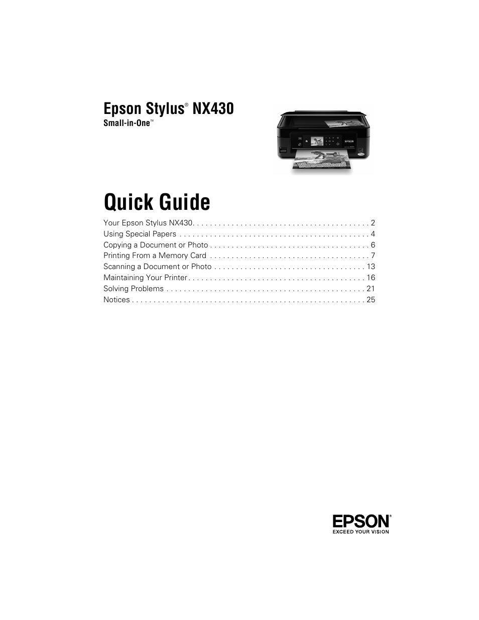 epson nx430 user manual 32 pages rh manualsdir com epson nx420 user guide Epson NX430 Ink