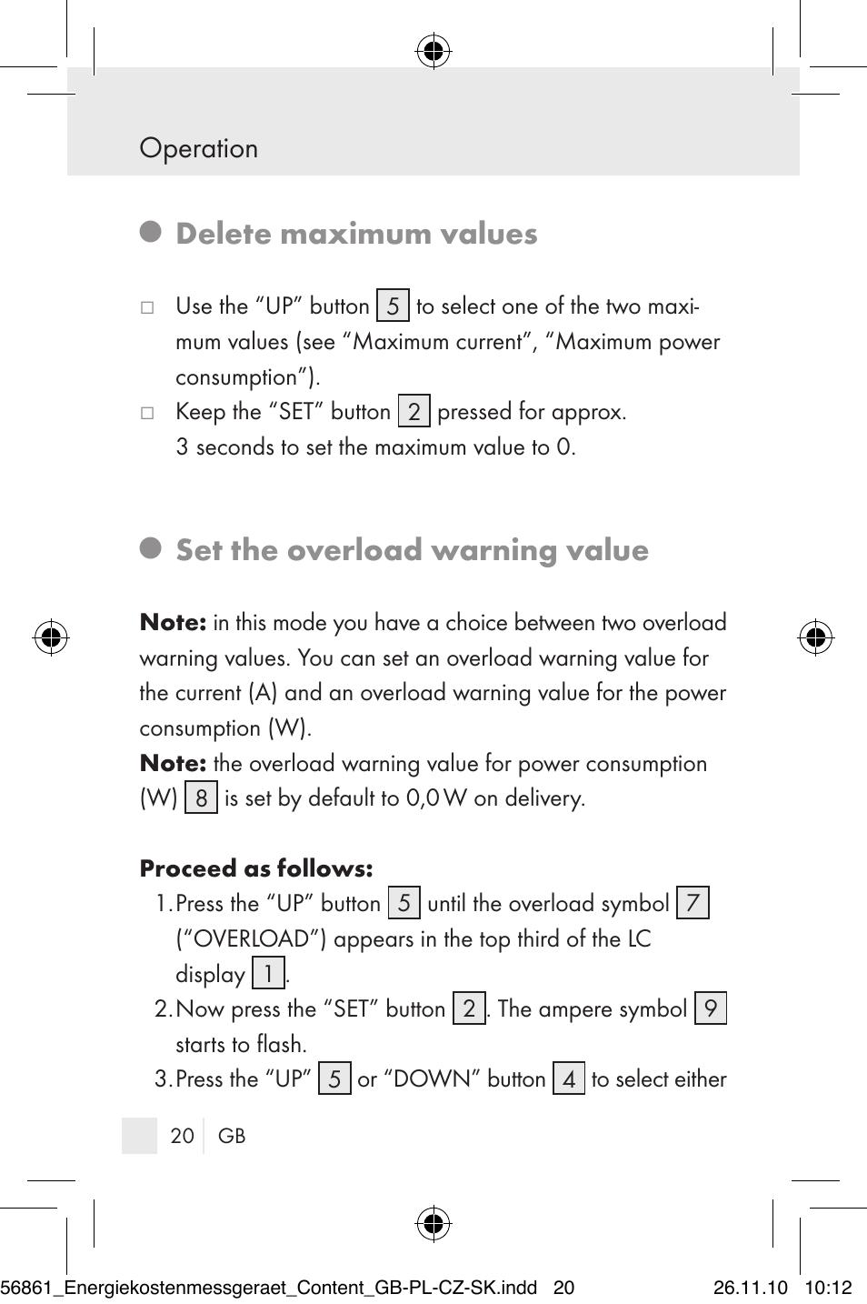 Delete Maximum Values Set The Overload Warning Value Operation